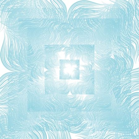 Blue abstract floral water, winter background. Retro style with flourishes.  Vector