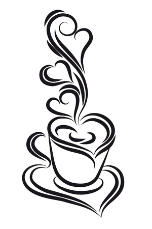 cafe sign: Black and white coffee cup vector. Swirl, curl style.