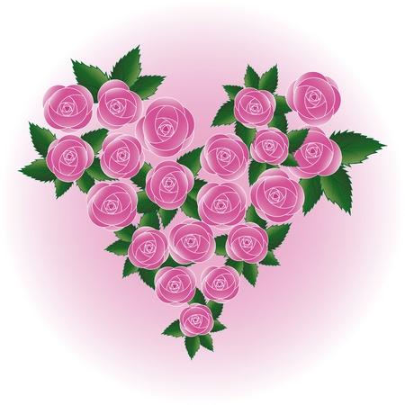 Pink art vector rose heart. Flower, wedding background. Design element. Valentine Day. Stock Vector - 10222684