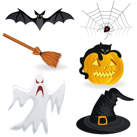 halloween cartoon: Halloween icon, pumpkin Hat, bat, spider, broom, ghost.