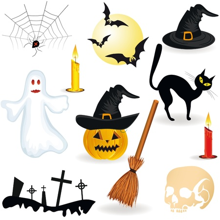 Halloween icon, pumpkin. Hat, candle, spider, broom, ghost, graveyard. Vector