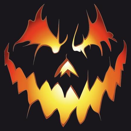 scary pumpkin: Halloween background. Scary pumpkin. Anger smile. Illustration