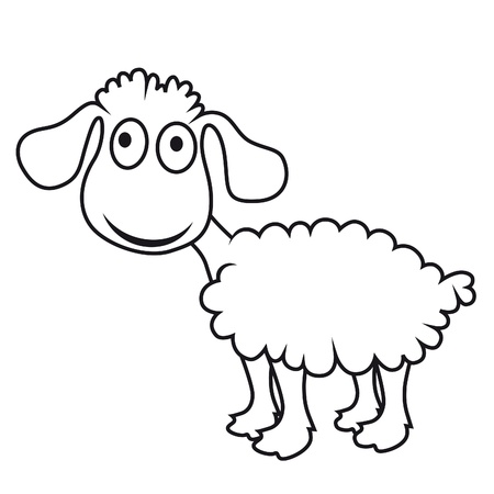 Cartoon sheep, lamb. Funny mammal. Vector