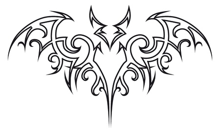 murcielago: Tribales de bat de tatuaje de vector. Elemento de diseño. Ilustración de Halloween.