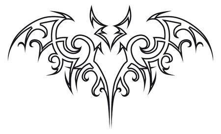murcielago: Tribales de bat de tatuaje de vector. Elemento de dise�o. Ilustraci�n de Halloween.