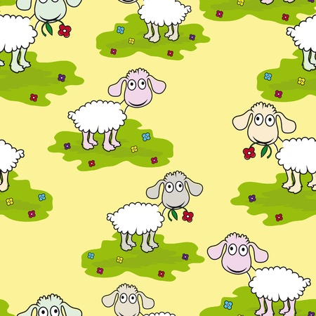 Seamless wallpaper pattern cartoon sheep lamb vector illustration background Vector