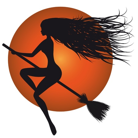 Halloween woman vector, witch silhouette, broom, orange moon. Vector