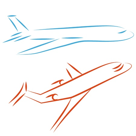 airway: Flying vector airplane, icon plane. Design element. Airliner, jet.