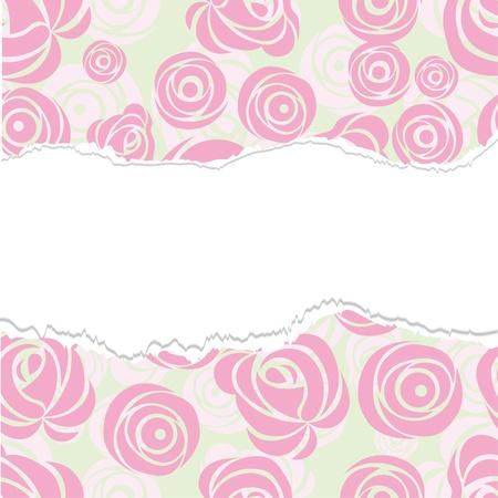 Torn paper, wrapping. Pink art vector rose pattern. Seamless flower background pattern. Fabric texture. Floral vintage design. Cute wallpaper. Cartoon feminine filigree tile. Vector