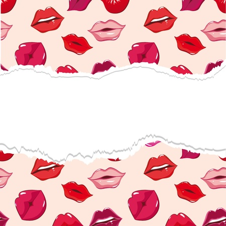 lip gloss: Red torn lip seamless background, vector pattern. Woman smile, people kiss. Sweet, print illustration. Design element.