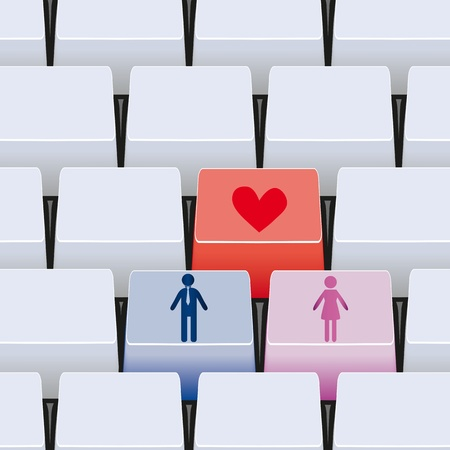woman computer: 3d love button for couple on keyboard. Cute background. Illustration