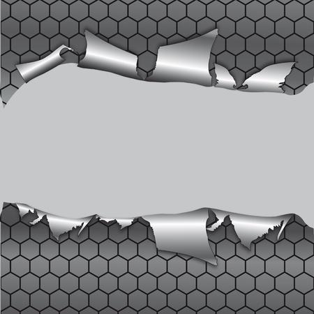 Fondo metálico hexágono, agujero en el papel de metal