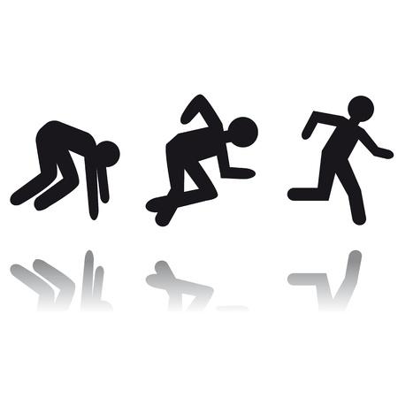 Running man icon. Person run. Career target. Stock Vector - 10336063