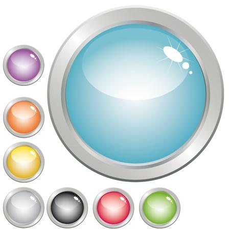 iluminados: Colección de botones brillante en varios colores para el diseño web.