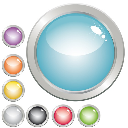 push button: Collection of glossy button in various color for web design.