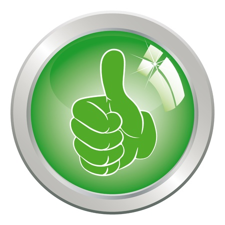 Circle Button art hand gesture like with thumb up.