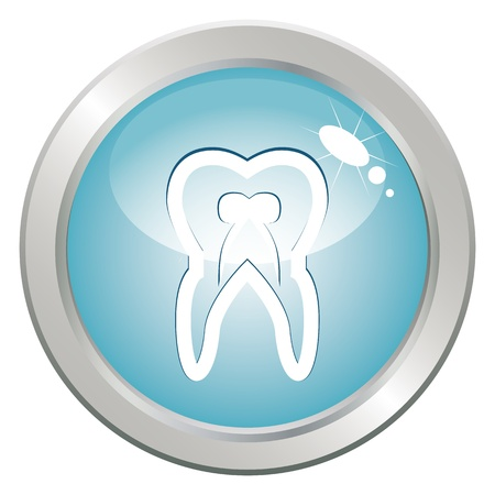 Stomatology button with tooth. Medical health care treatment