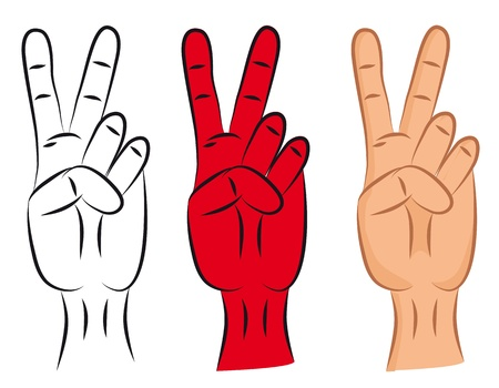 Hand - victory sign isolated on seamless background. Two finger.   Vector
