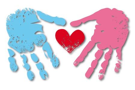 vieze handen: Afdrukken van de hand en het hart van man en vrouw paar