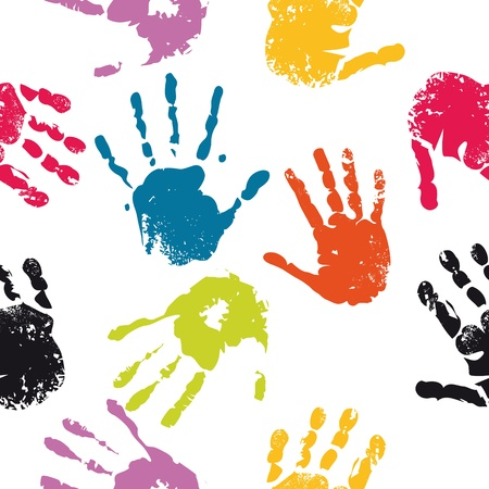 Impresión de la mano del niño, patrón del equipo lindo transparente  Ilustración de vector