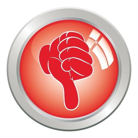Mano de vector del arte de botón icono a diferencia de gesto pulgar hacia abajo.  Ilustración de vector