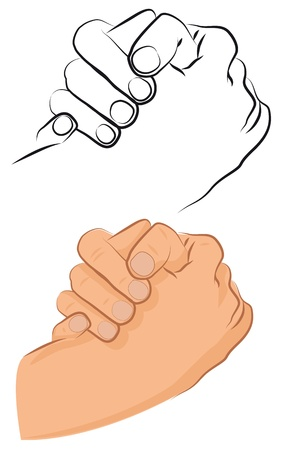 greet: Hand friendly greeting shake between two persons. Vector illustrastion. Illustration