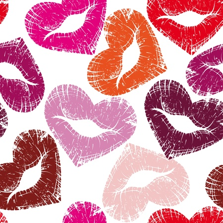 öpücük: Print of heart lips, seamless kiss valentine background, cute grange illustration.Element for design