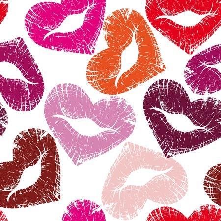 bacio: Stampa di labbra di cuore, senza soluzione di continuit� bacio San Valentino sfondo, illustrazione grange carino.Elemento di design