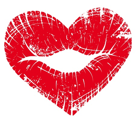 lipstick kiss: lip heart, print valentine kiss, romantic background. Design element. Illustration