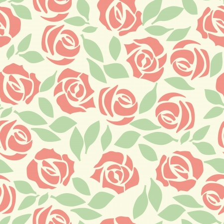 Vector rose seamless flower background pattern, floral fabric vintage wallpaper. Cute backdrop. Stock Vector - 10507024