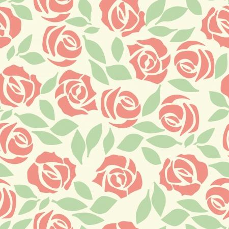rose: Vector rose seamless flower background pattern, floral fabric vintage wallpaper. Cute backdrop. Illustration