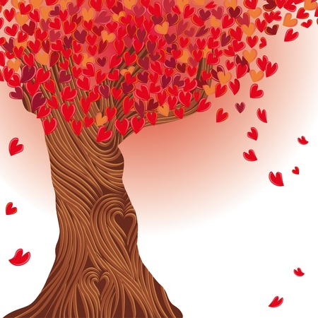 painting and stylized: Valentine tree, heart. Love card. Wedding background. Illustration