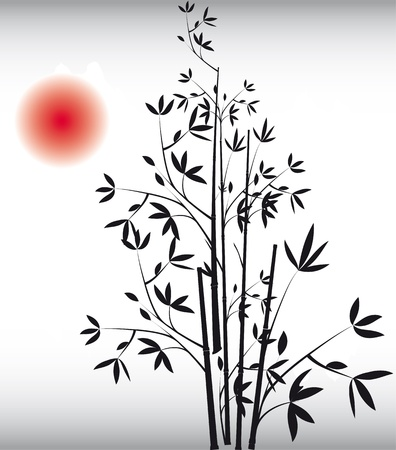 bush: Black bamboo vector. Art traditional. Chinese background with red sun.