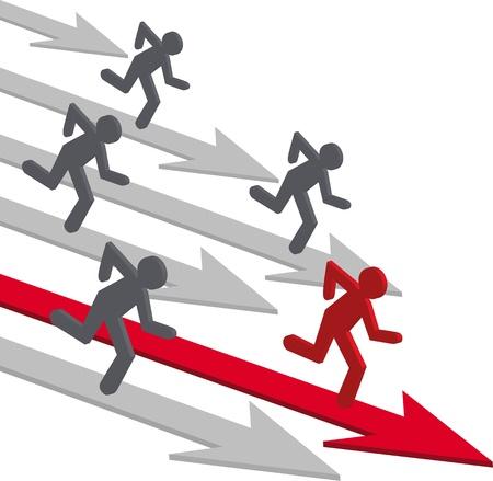 Concurrentie mensen vector. Running man, winnaar, het bedrijfsleven richting, pijl. Vector Illustratie