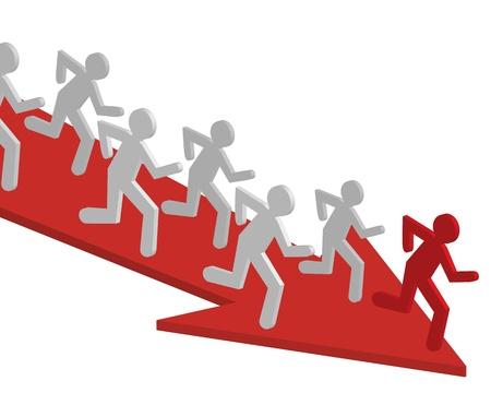 Trabajo en equipo, personas del equipo de vectores. Hombre corriente, ganador, dirección de negocios, flecha.