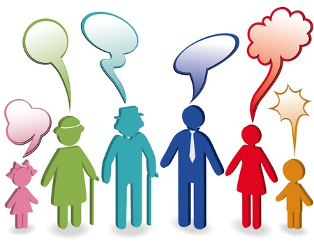 parents and children: Community, people chat, family icon. Person woman, old man, child, grandpa, grandfather, grandmother. Generation character. Communication illustration with speak bubble, speech balloon. 3d