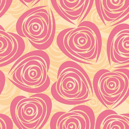 Pink art heart, rose pattern. Seamless flower background pattern. Fabric texture. Floral vintage design. Pretty cute wallpaper. Romantic cartoon feminine filigree tile. Vector