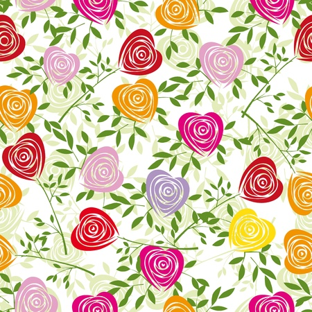 Multicoloured art heart, rose pattern. Seamless flower background pattern. Fabric texture. Floral vintage design. Pretty cute wallpaper. Romantic cartoon feminine filigree tile. Vector