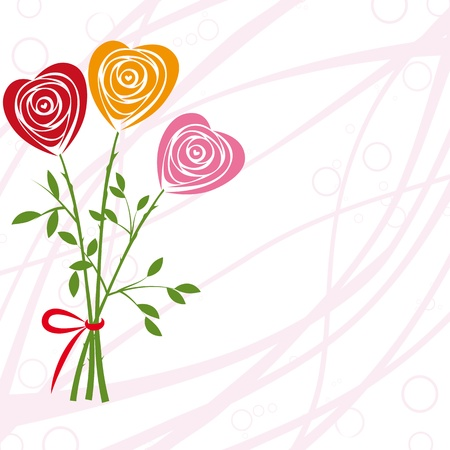 Art vector heart, rose invitation. Flower background. Floral design. Pretty cute illustration. Vector
