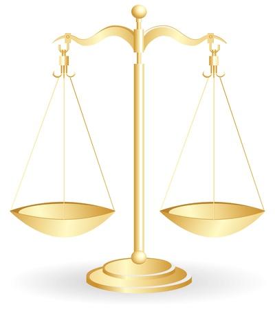 balanza en equilibrio: Escala de equilibrio metal oro aislada sobre fondo blanco. Ilustraci�n vectorial.