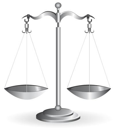 balanza en equilibrio: Escala de equilibrio metal plata aislada sobre fondo blanco. Ilustraci�n vectorial. Vectores