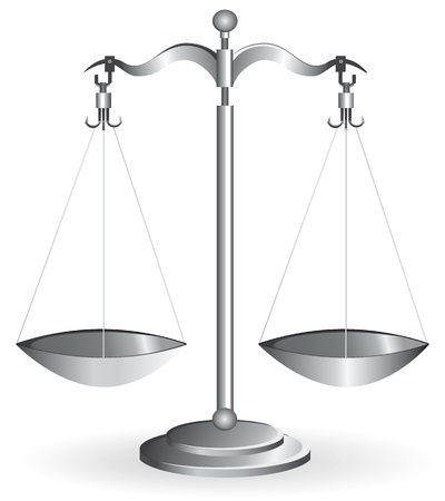 justice scales: Metal balance scale silver isolated on white. Vector illustration.