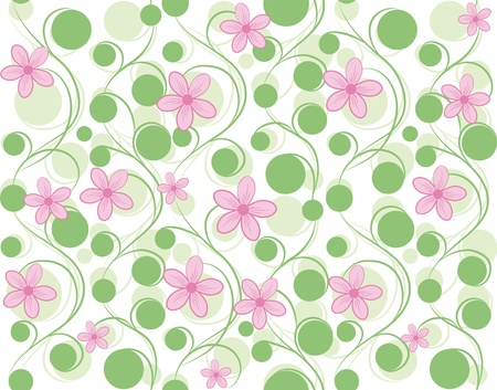 floral fabric: Pink vector seamless flower background pattern, floral fabric vintage wallpaper. Cute backdrop. Illustration