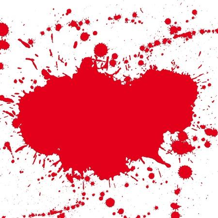Red drop ink splatter, blood splash vector. Gloss brush paint spot, grunge blot, art blob, oil, abstract droplet. Splat, liquid illustration. Space for text. Vector