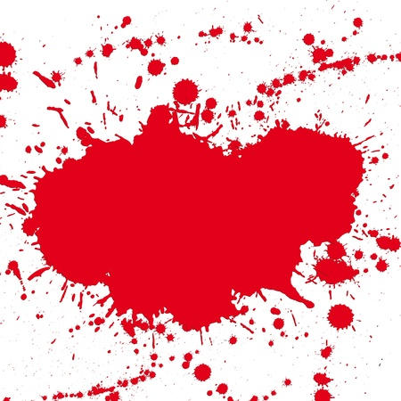 paint splat: Red drop ink splatter, blood splash vector. Gloss brush paint spot, grunge blot, art blob, oil, abstract droplet. Splat, liquid illustration. Space for text. Illustration