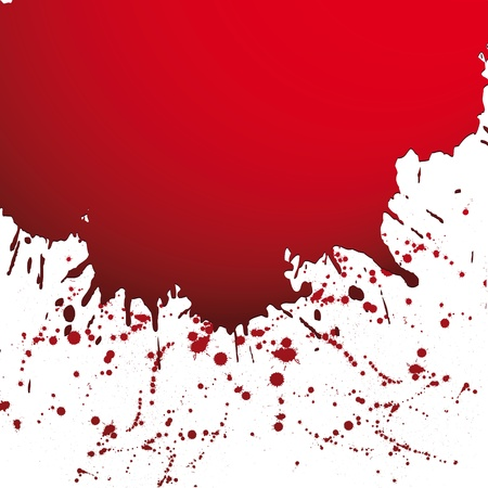 spatter: Red drop ink splatter, blood splash vector. Gloss brush paint spot, grunge blot, art blob, oil, abstract droplet. Splat, liquid illustration. Space for text. Illustration