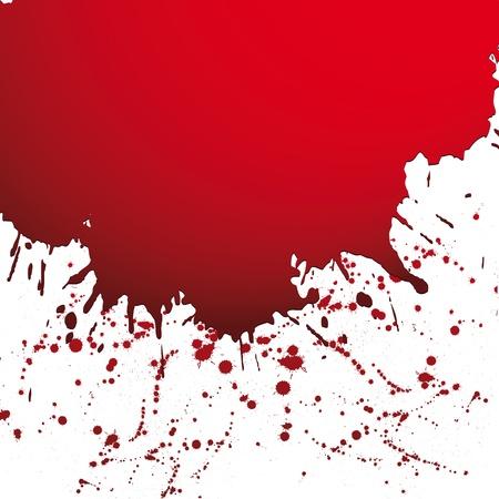 spatters: Red drop ink splatter, blood splash vector. Gloss brush paint spot, grunge blot, art blob, oil, abstract droplet. Splat, liquid illustration. Space for text. Illustration