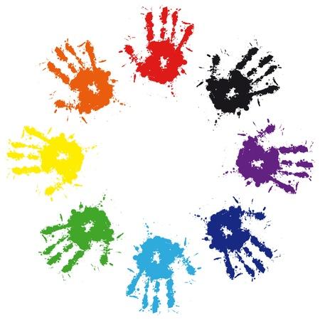 solidaridad: Impresi�n de la mano de bienvenida colorida de tinta. Ilustraci�n de grunge de vector de la mano del ni�o, antecedentes de trabajo en equipo lindo