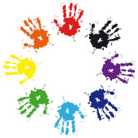 Print of hand from ink colorful splash. Vector grunge illustration of hand of child,  cute teamwork background Vector