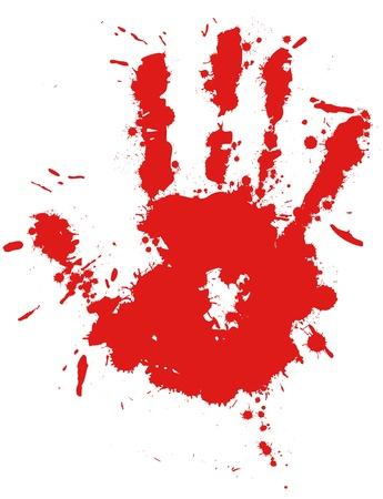 empreinte de main: Baisse de la main rouge d'encre d'impression �claboussures, vecteur �claboussures de sang. Gloss pinceau tache, grunge blot, blob d'art, huile, goutte abstrait. Splat, illustration liquide.